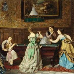 Пазл онлайн: Дамы,играющие в бильярд.