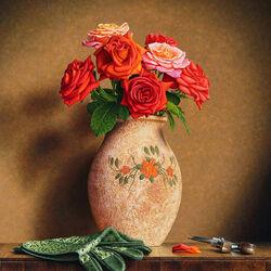 Пазл онлайн: Ваза и розы