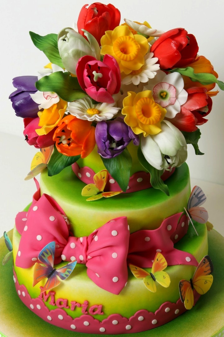 Торт цветы без мастики
