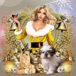 Пазл онлайн: Золотисто - желтое Рождество