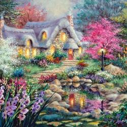 Пазл онлайн: Коттедж в цветах