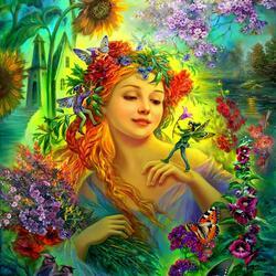 Пазл онлайн: Цветы для феи