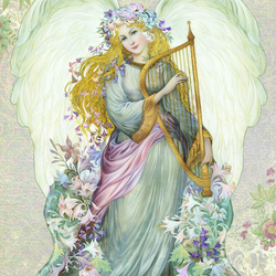 Пазл онлайн: Ангел с арфой
