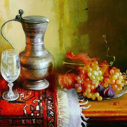 Пазл онлайн: Натюрморт с инжиром и виноградом