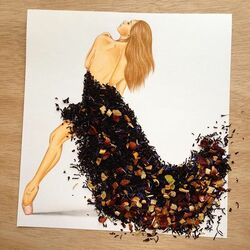 Пазл онлайн: Платье из чая