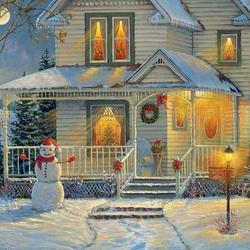 Пазл онлайн: Праздничный снеговик