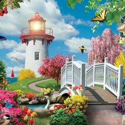 Пазл онлайн: Мост к маяку