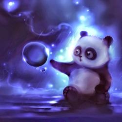Пазл онлайн: Панда и капелька