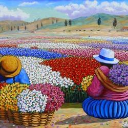 Пазл онлайн: Женщины на сборе цветов
