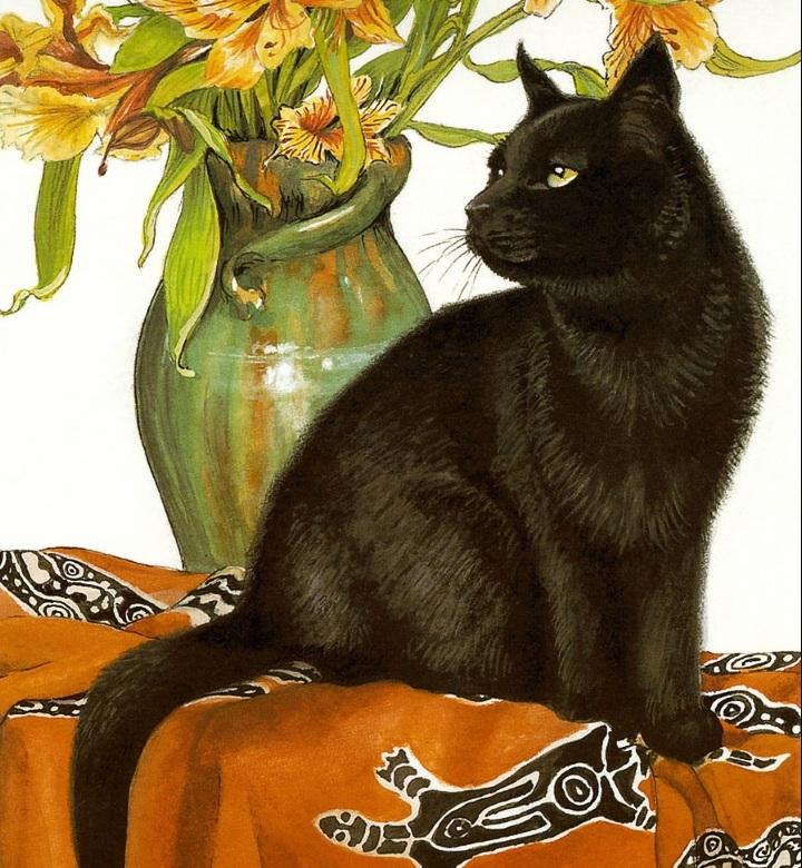 Темная кошка открытки