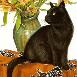 Пазл онлайн: Чёрный кот