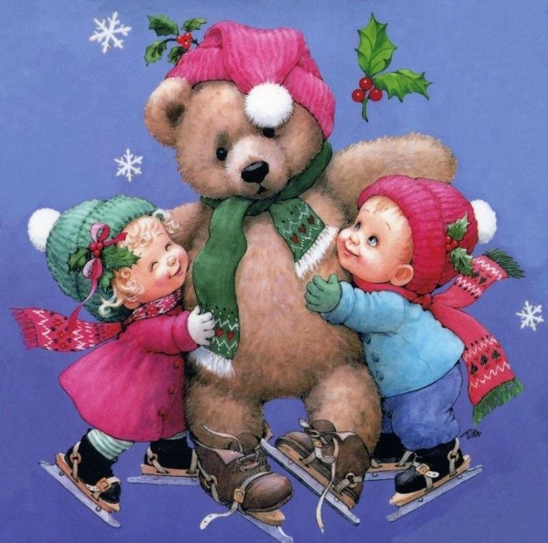 Преображением господним, мишка на новогодней открытке