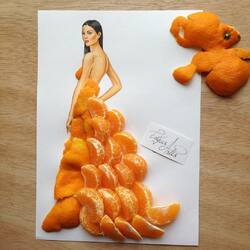 Пазл онлайн: Мандариновое платье