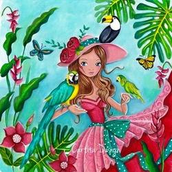 Пазл онлайн: Девушка с попугаями