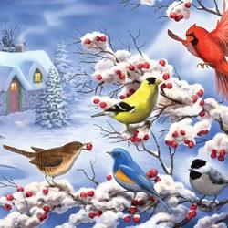 Пазл онлайн: Птичье пиршество