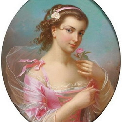 Пазл онлайн: Молодая женщина с розой