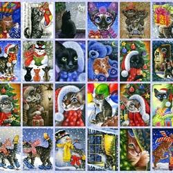 Пазл онлайн: Кошачий Новый Год