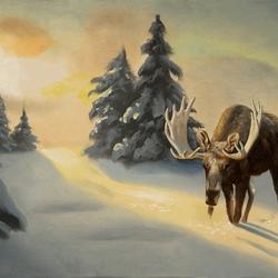 Пазл онлайн: Лось в снегу