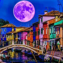 Пазл онлайн: Луна над Венецией