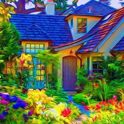 Пазл онлайн: Красочный сад