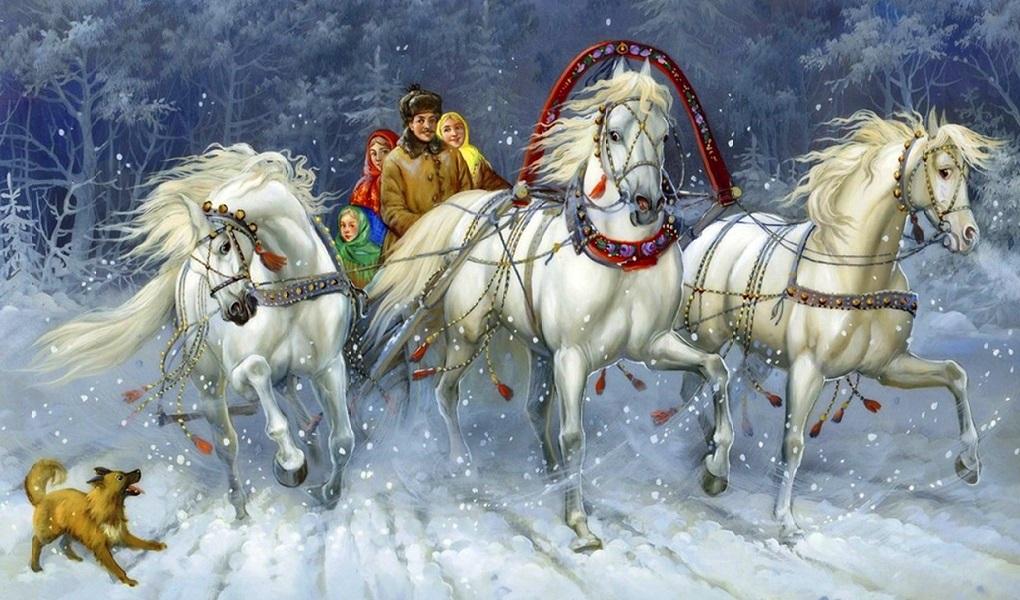 Картинка тройка лошадей с санями