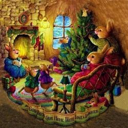 Пазл онлайн: Рождество у кроликов