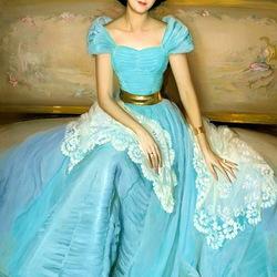Пазл онлайн: Портрет дамы в голубом платье