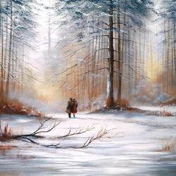 Пазл онлайн: Прогулка в зимнем лесу