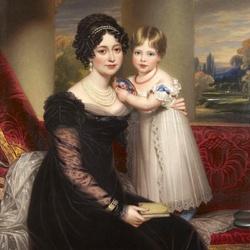 Пазл онлайн: Герцогиня Кентская с принцессой Викторией