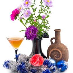 Пазл онлайн: Цветы и новогодние шары