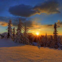 Пазл онлайн: Солнце на снегу