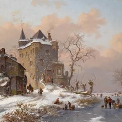 Пазл онлайн: Фигуристы возле замка в зимний день