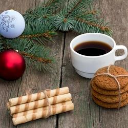 Пазл онлайн: Чашечка новогоднего кофе