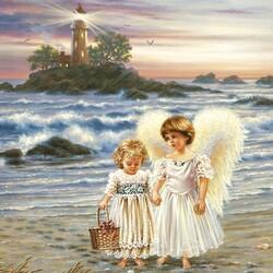Пазл онлайн: Ангелы у моря