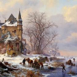 Пазл онлайн: Зимний пейзаж с повозкой