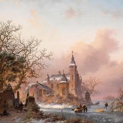 Пазл онлайн: Замок у замерзшей реки