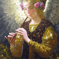 Пазл онлайн: Ангел и дудочка