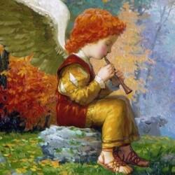 Пазл онлайн: Ангел и флейта