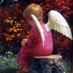 Пазл онлайн: Ангел с яблочком
