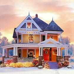 Пазл онлайн: Дом встречает Рождество