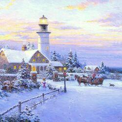 Пазл онлайн: Маяк зимой
