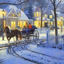 Пазл онлайн: В зимний вечер