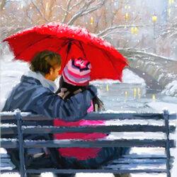 Пазл онлайн: Под красным зонтом