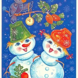 Пазл онлайн: Новогодняя ретро - открытка