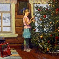 Пазл онлайн: Наряжаем елку