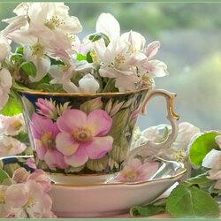 Пазл онлайн: Цветы в чашке