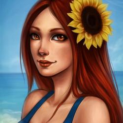 Пазл онлайн: Леона на пляже