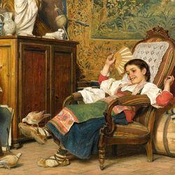 Пазл онлайн: Девочка и голуби