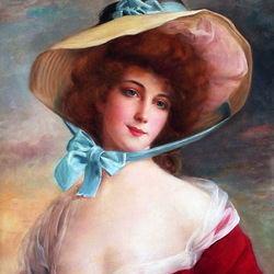 Пазл онлайн: Портрет женщины в шляпе
