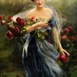 Пазл онлайн: Женщина с розами